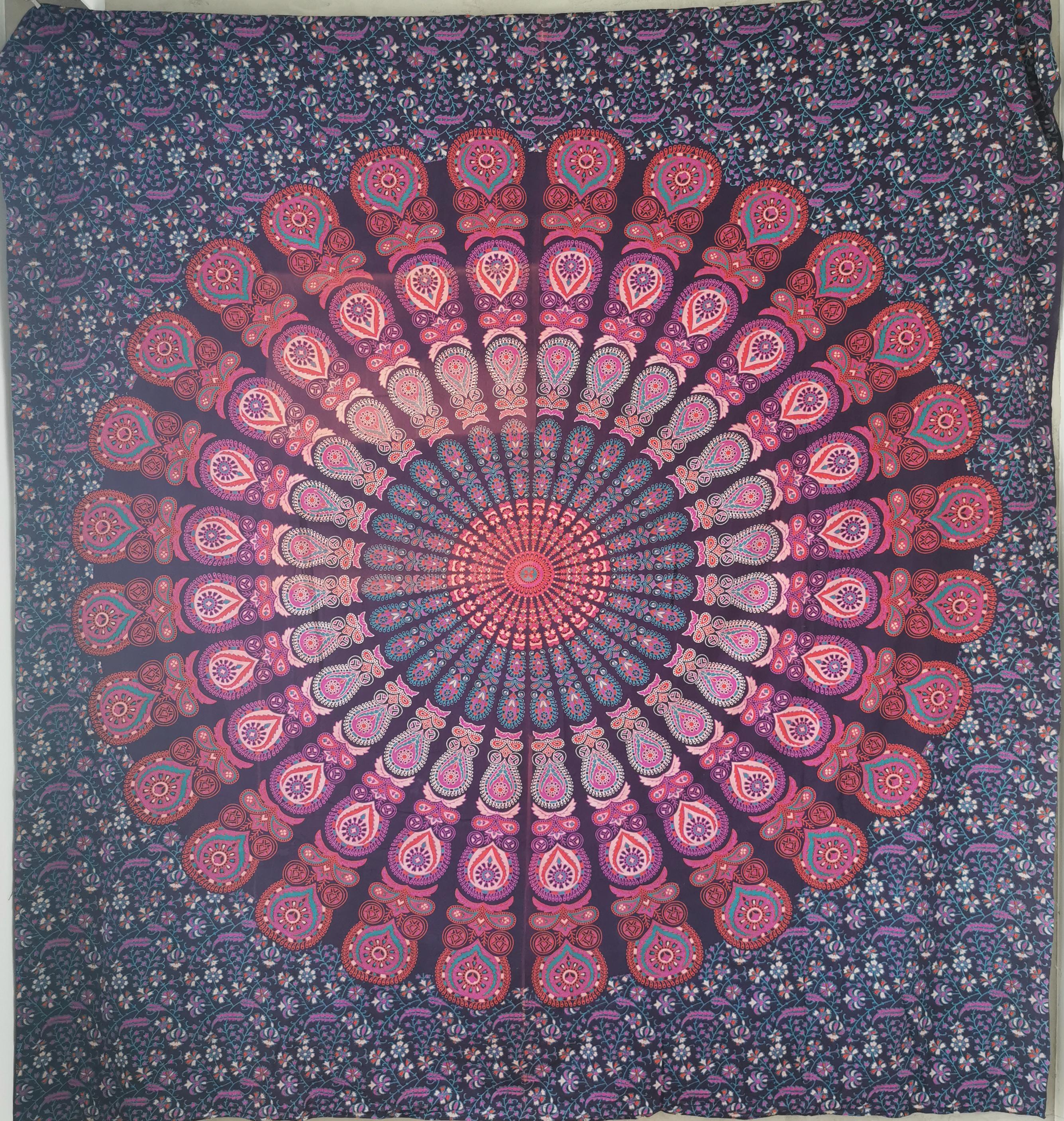 Mandala Rot/Magenta auf Blau